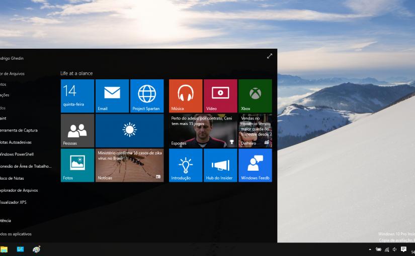 Uma olhada na build 10074 do Windows 10.