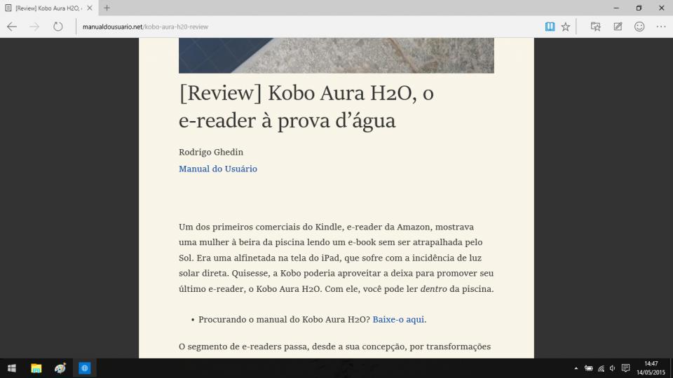 Artigo do Manual do Usuário em modo leitura.