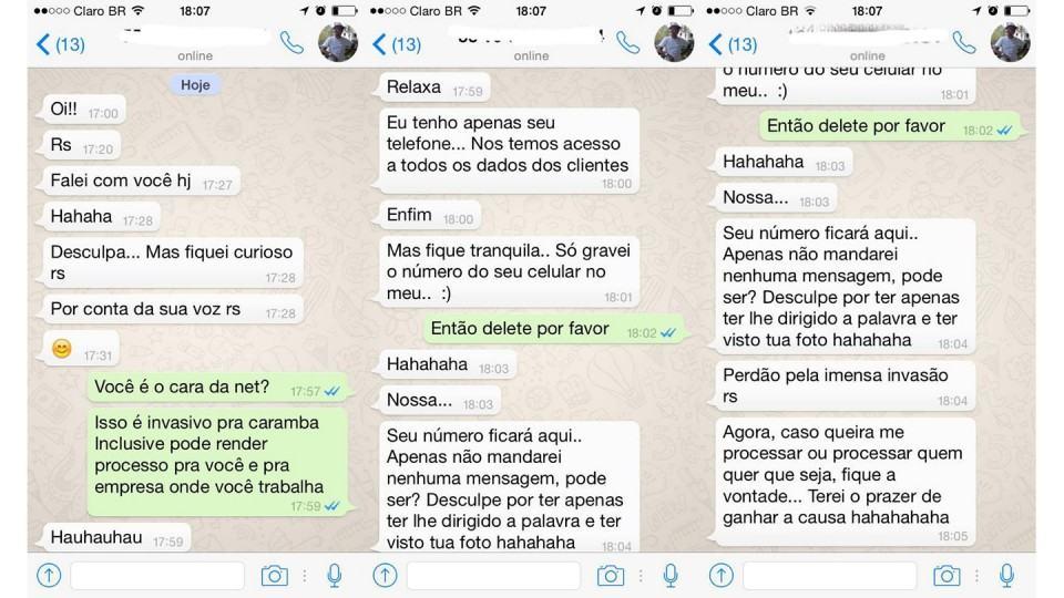 Troca de mensagens entre o atendente da NET e a Ana.