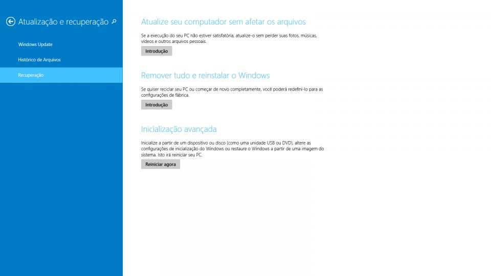 Atualização e recuperação no Windows 8 e posteriores.