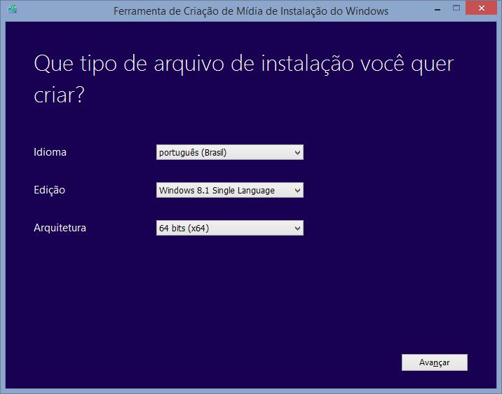 Escolha a versão e o idioma do Windows 8.1.