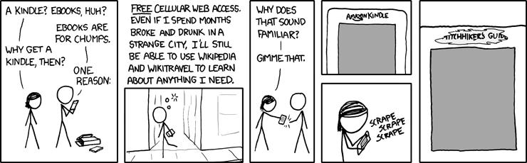 Tirinha sobre o Kindle e o Guia do Mochileiro das Galáxias, no xkcd.