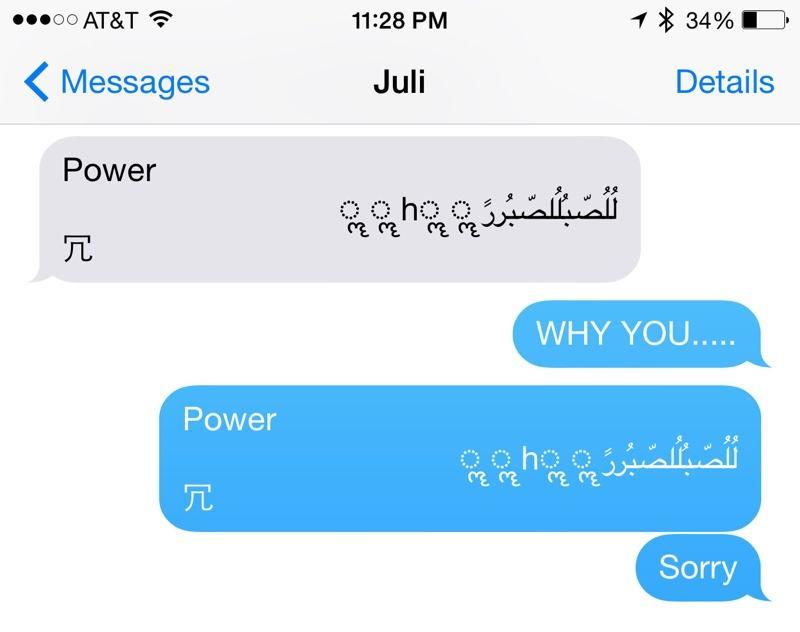 Esta mensagem trava e reinicia iPhones.