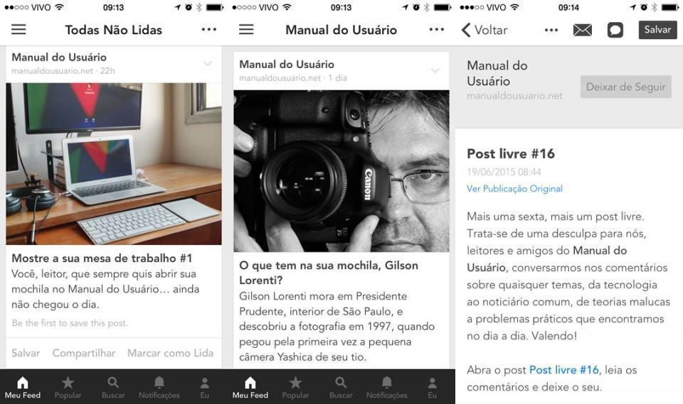 Telas do app Bloglovin', para iPhone.