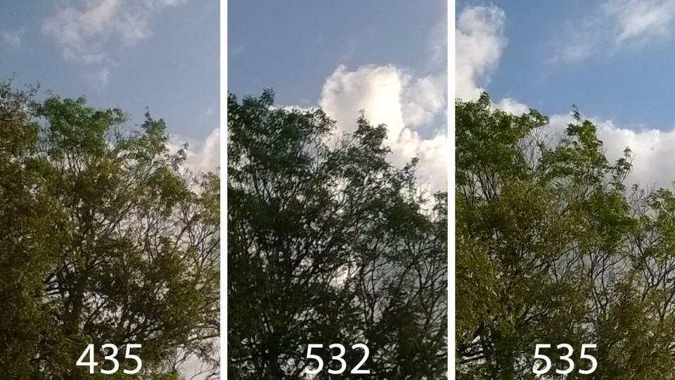 Foto ao ar livre, com Sol, com os três Lumias.