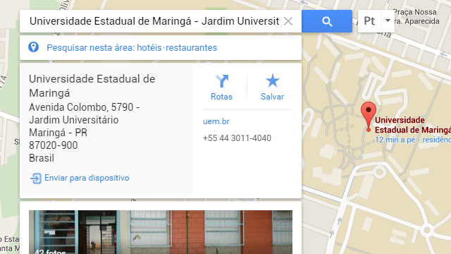 Google Maps web com opção de envio do endereço para o iPhone.