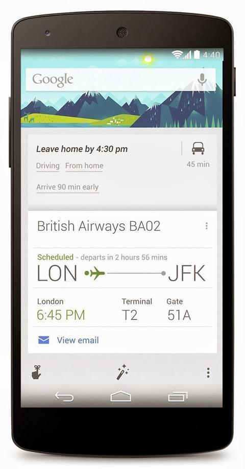 Google Now em um Nexus 5.
