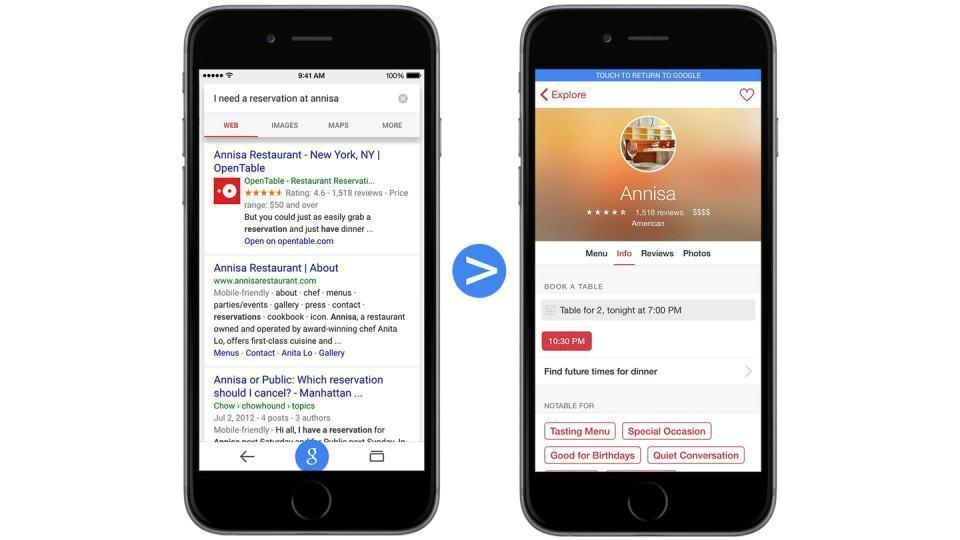 Busca no Google retorna reserva no app do OpenTable.