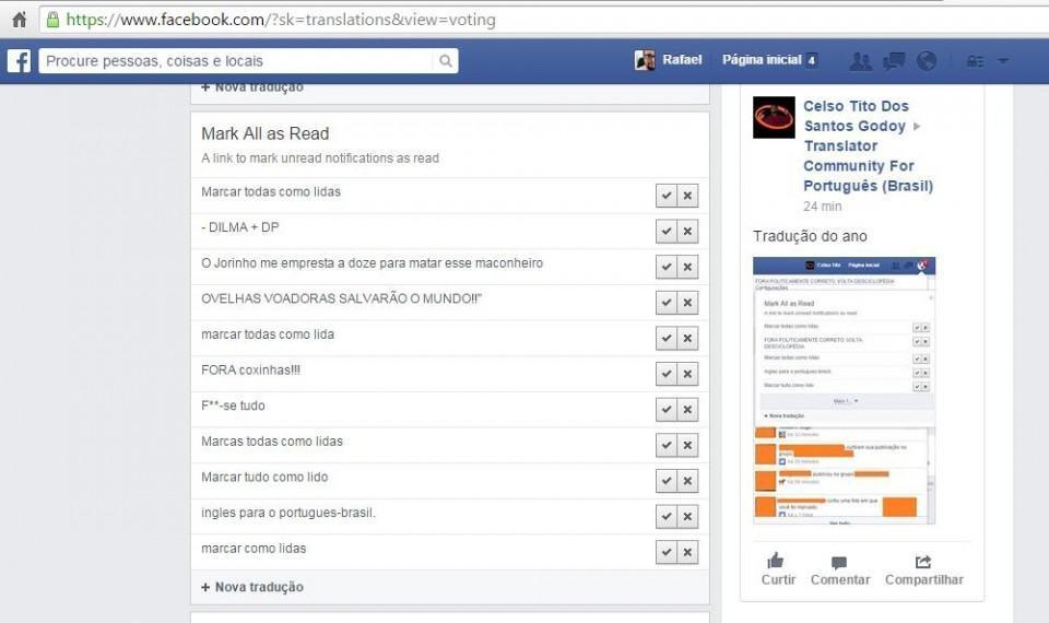 'Marcar todas como lidas' na ferramenta de tradução do Facebook.