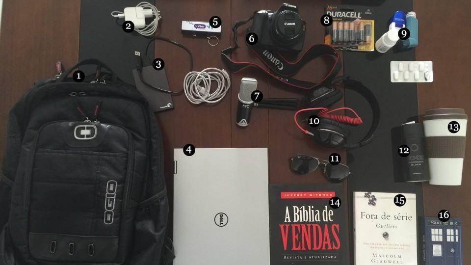 O que tem na mochila do João Pedro Motta.