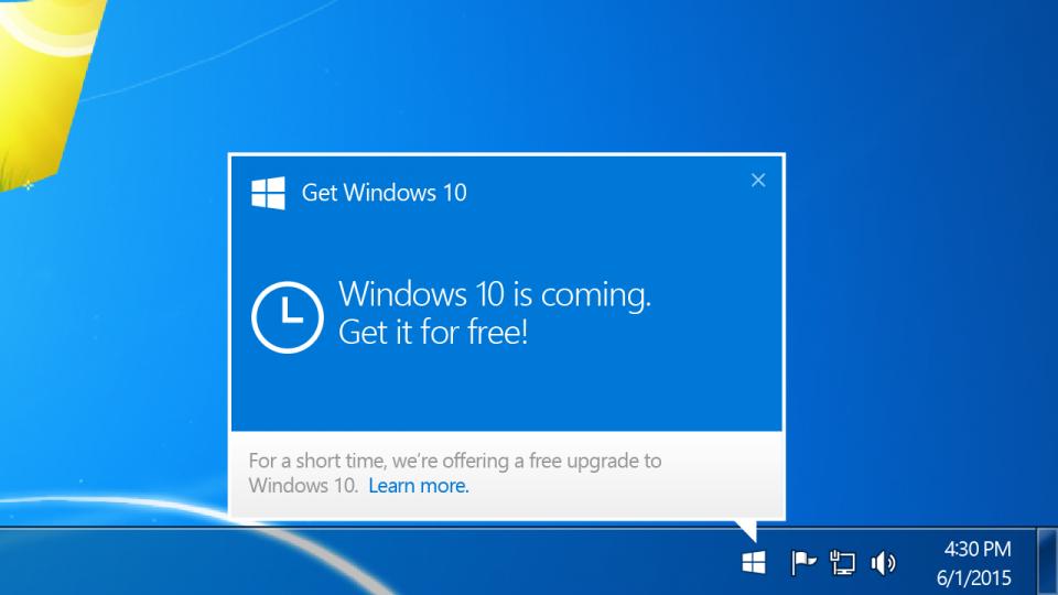 Notificação para agendar a instalação do Windows 10.