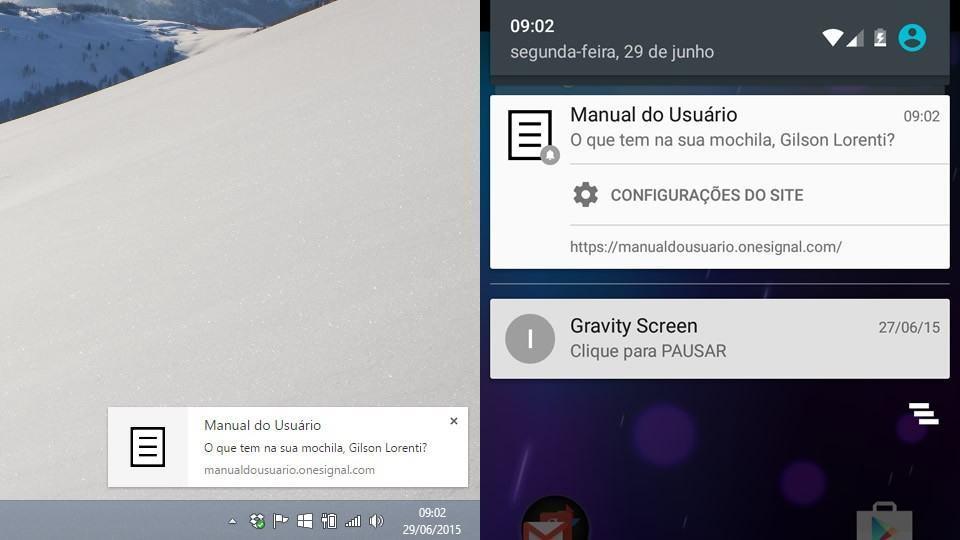 Notificações do Manual do Usuário via Chrome.