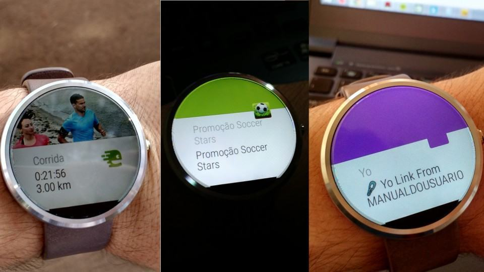 Exemplos de notificações do Android Wear.