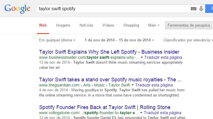 Pesquisa temporal no Google.