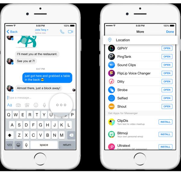 Passos para compartilhar a localização no Facebook Messenger.