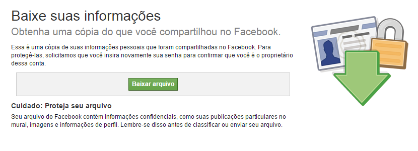 Tela de backup do Facebook.