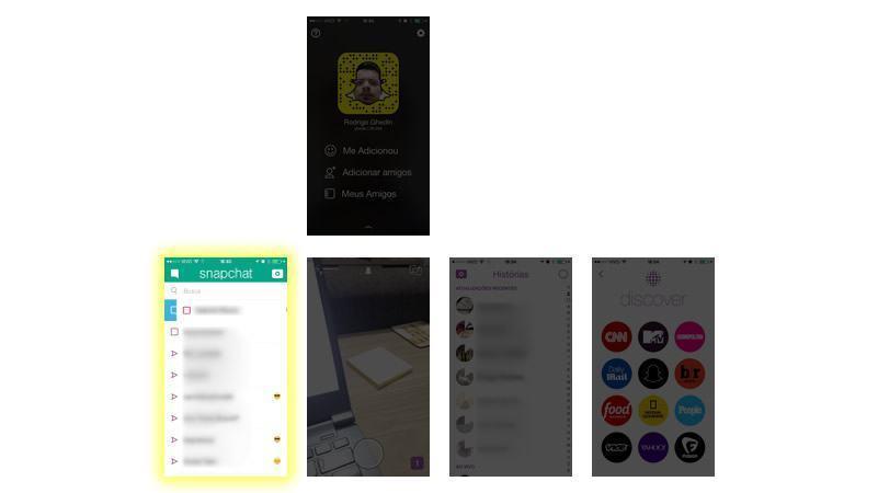 Lista de snaps no mapa do Snapchat.
