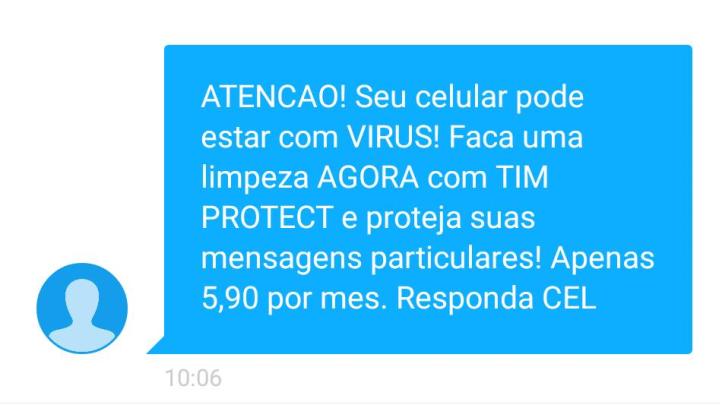 Mensagem do TIM Protect enviada ao Alessandro.