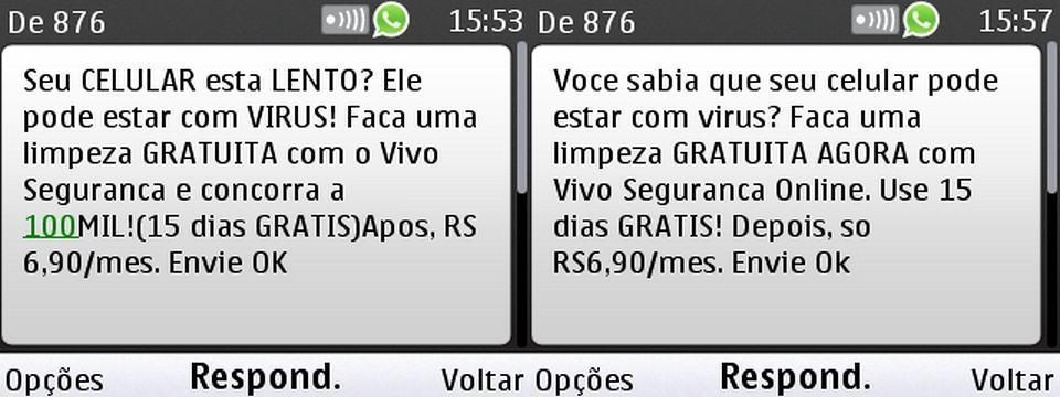 Mensagem do Vivo Segurança Online enviada ao Diego.