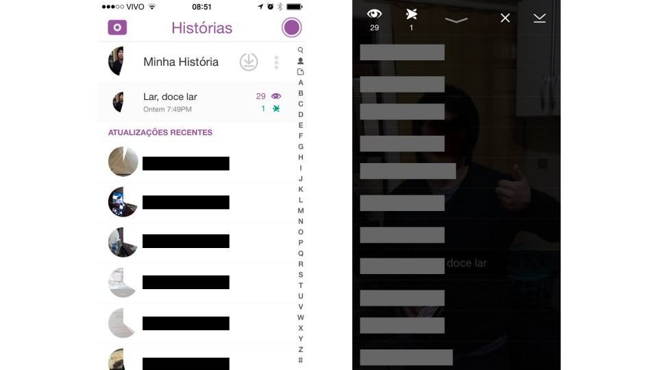 Telas da História no Snapchat.