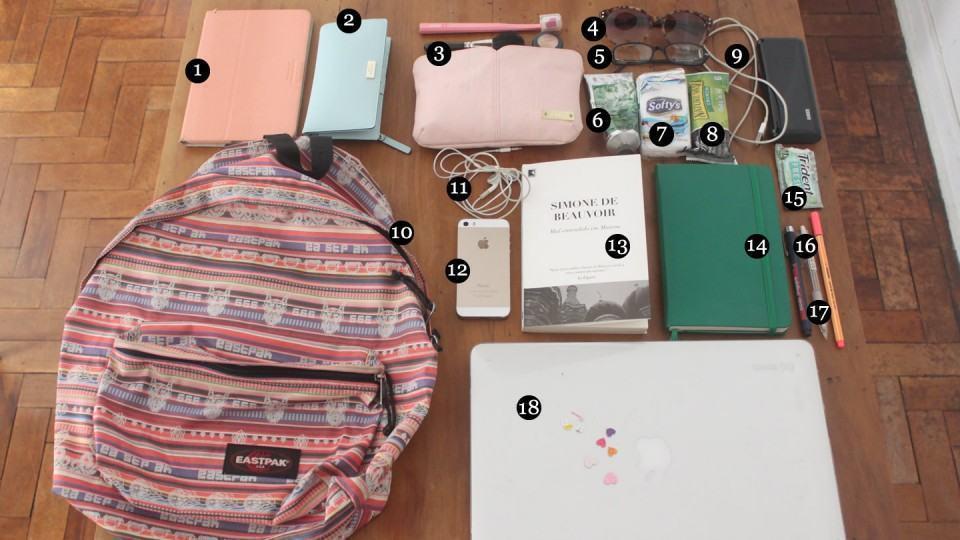 O que tem na mochila da Dani Arrais.