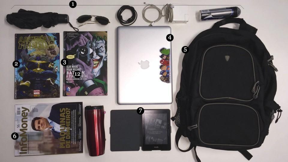 O que tem na mochila do Thiago Mobilon.