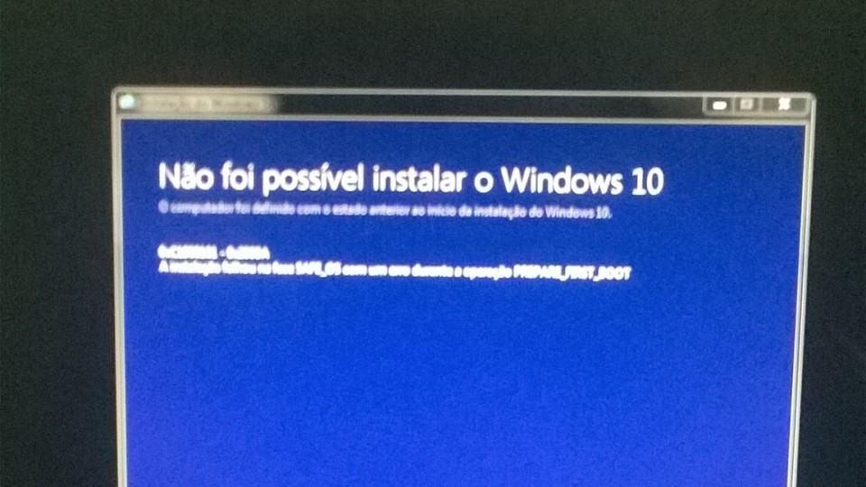 Mensagem de erro na instalação do Windows 10.