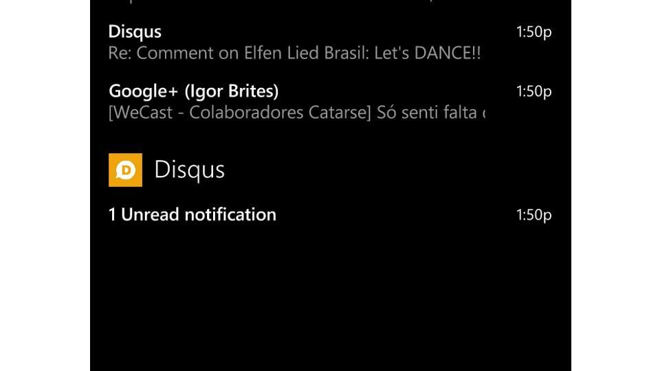 Notificação do Disqus no Windows Phone.