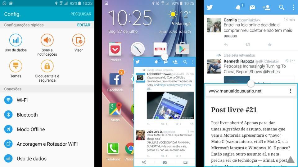 Algumas telas da TouchWiz no Galaxy S6.
