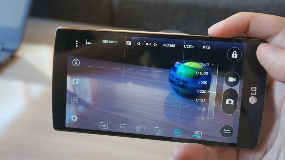 Controles manuais da câmera do G4.