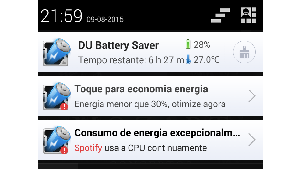 DU Battery Saver na cortina de notificações.