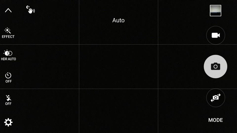 Interface da câmera do Galaxy S6.