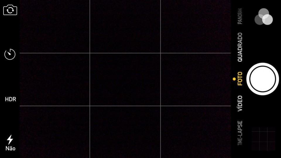 Interface da câmera do iPhone.