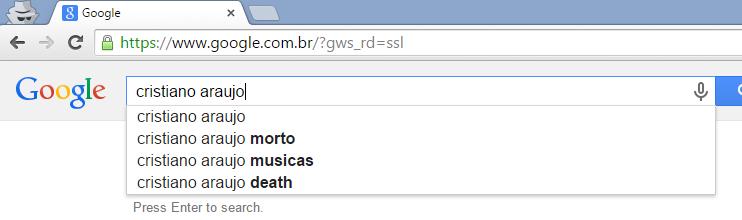 'Morto' é a primeira sugestão do Google para a pesquisa por 'Cristiano Araújo'.