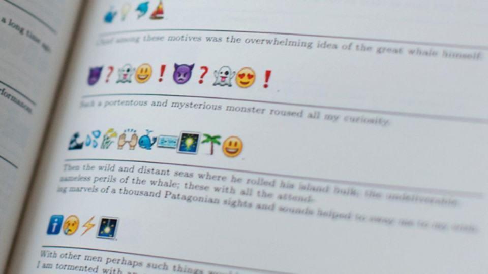 Conteúdo do livro Moby Dick traduzido em emoji.