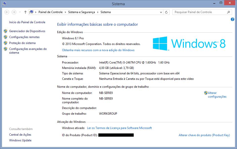 Propriedades do Windows no Série 9.