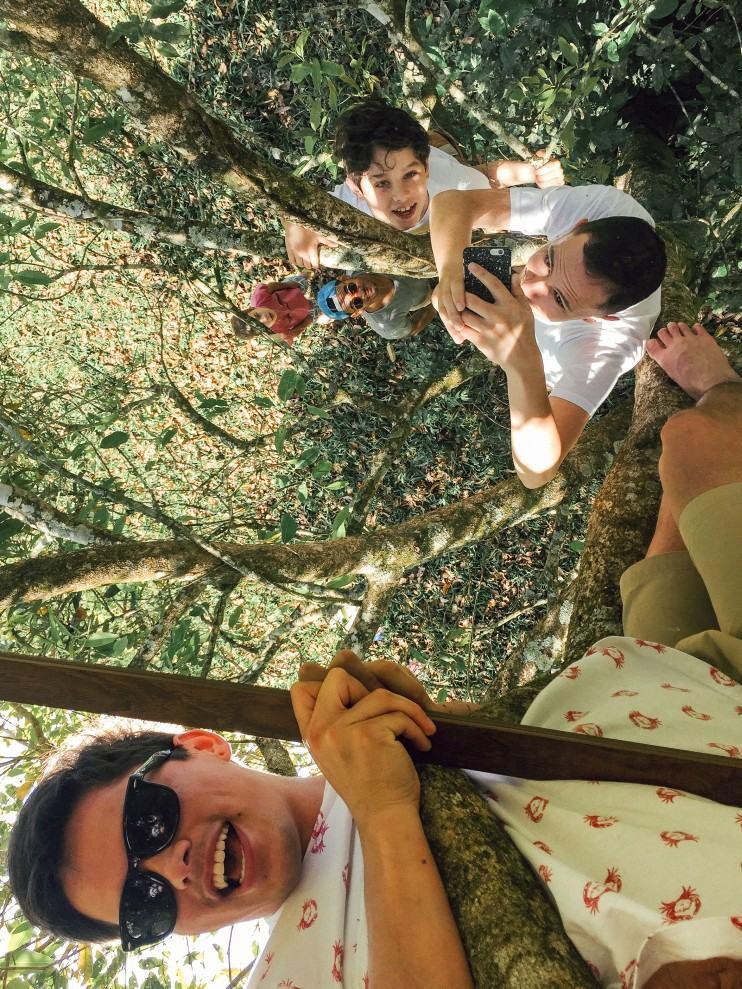 Selfie com espelho, em cima da árvore.