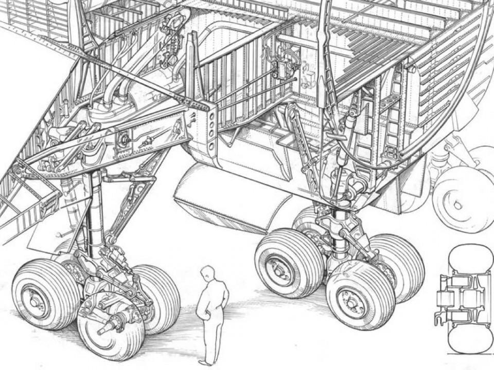Desenho técnico do trem de pouso do Boeing 747.