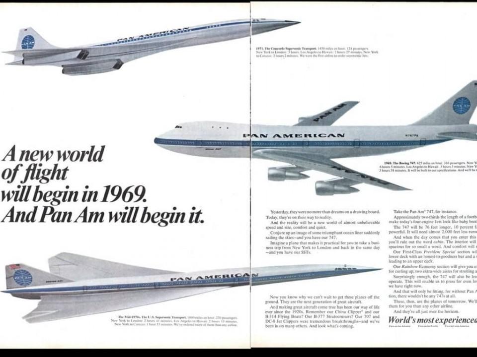 Anúncio da Pam Am dos seus novos aviões.