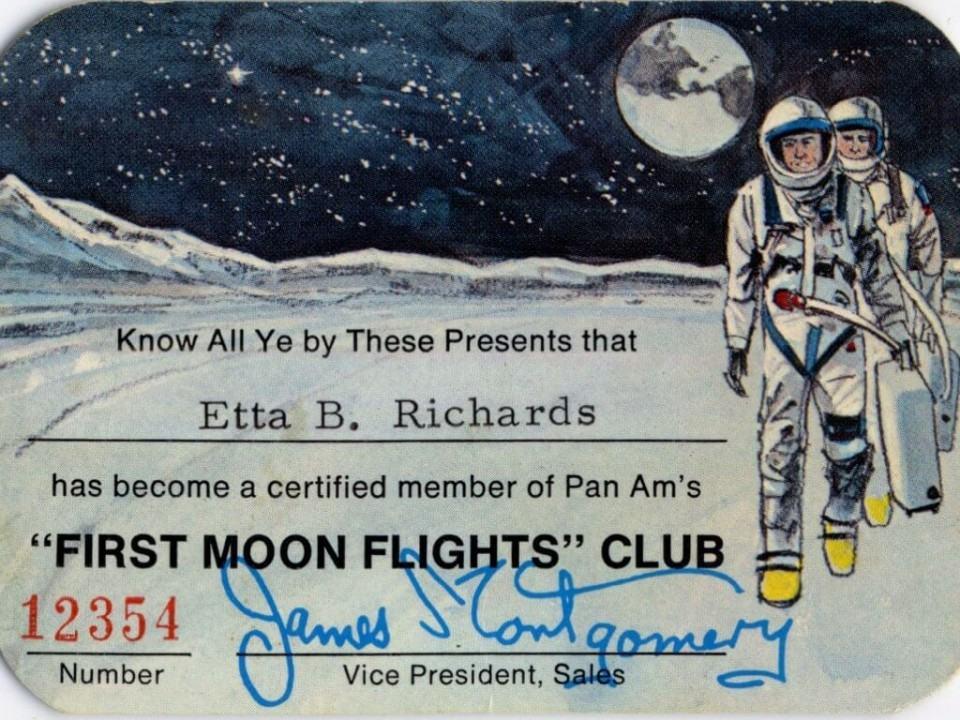 Certificado de entrada no clube dos primeiros que voariam à Lua.