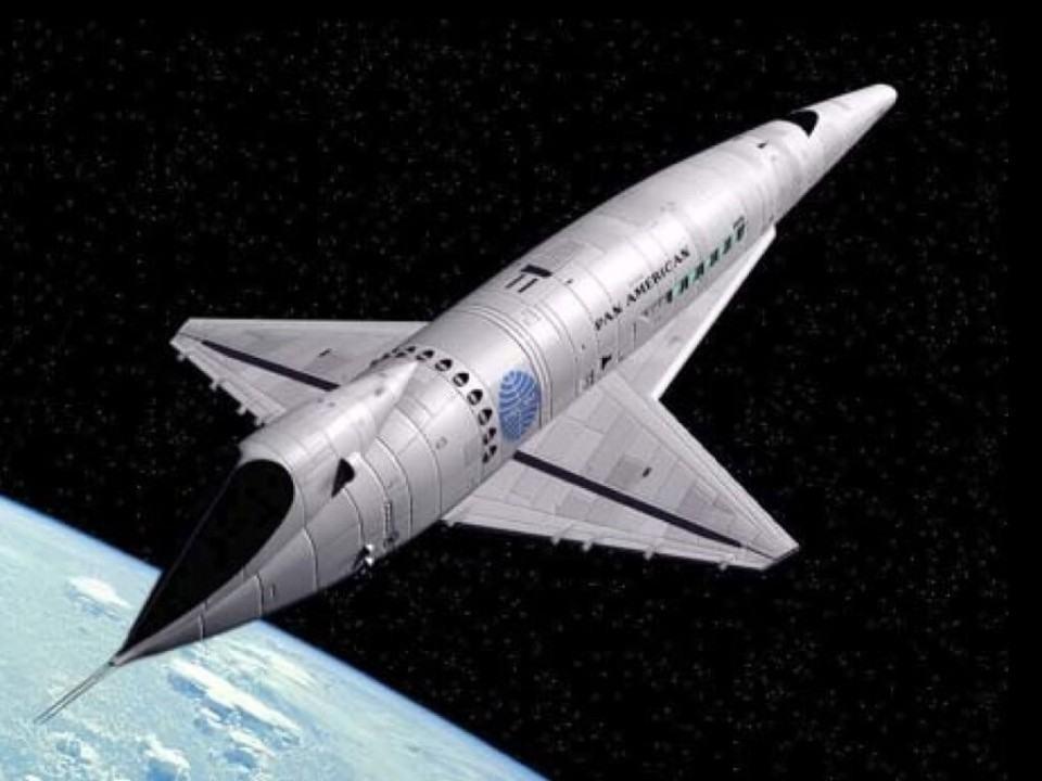 Projeção de como seriam os aviões do futuro nos anos 1960.