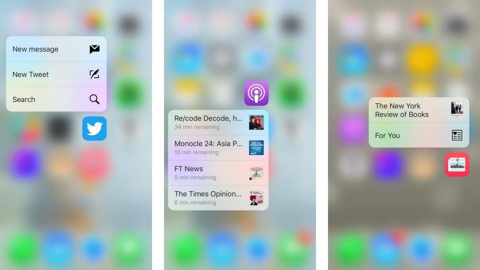 Aplicações do 3D Touch no iPhone 6s.