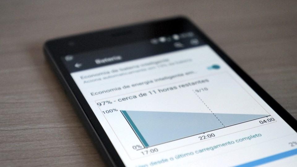Tela de bateria do Android no Quantum Go.
