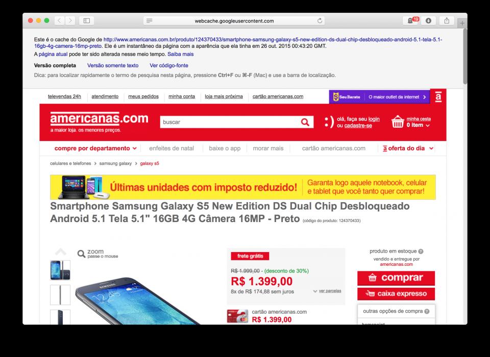 Galaxy S5 New Edition por R$ 1.399 na Americanas.