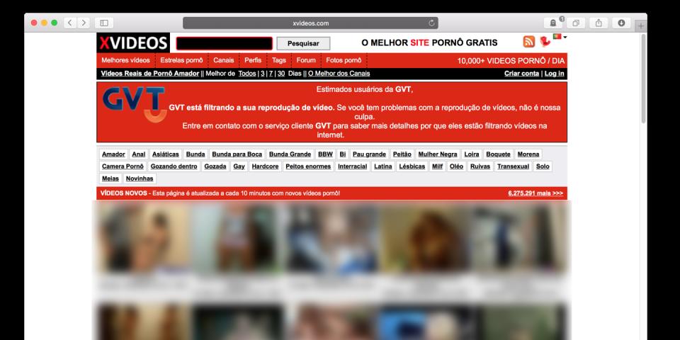 Mensagem da GVT em site pornográfico.