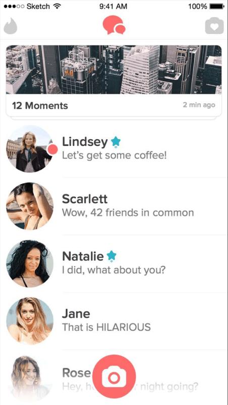 Lista de contatos com Super Like.
