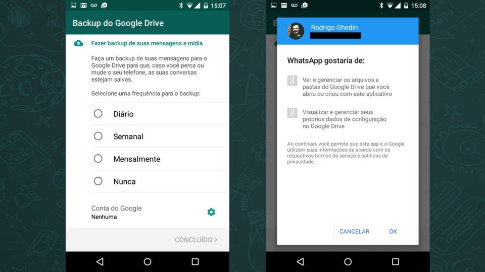Backup de conversas no Google Drive.