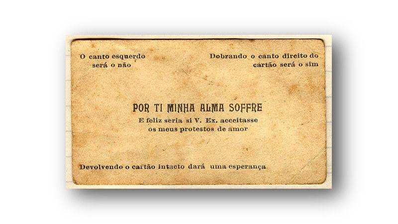 Cartão de aceite dos protestos de amor de Othelo Rodrigues Rosa.