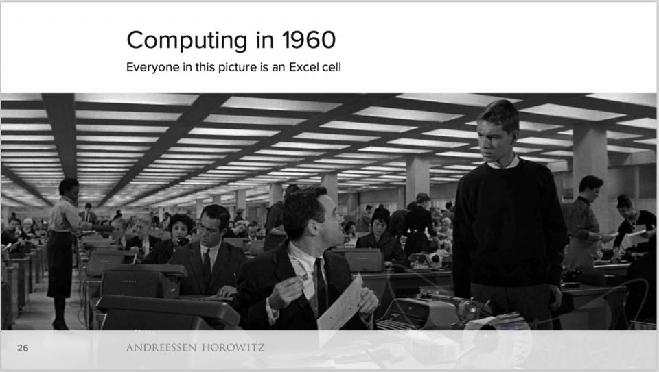 Escritório, ou um grande arquivo de Excel humano nos anos 1960.