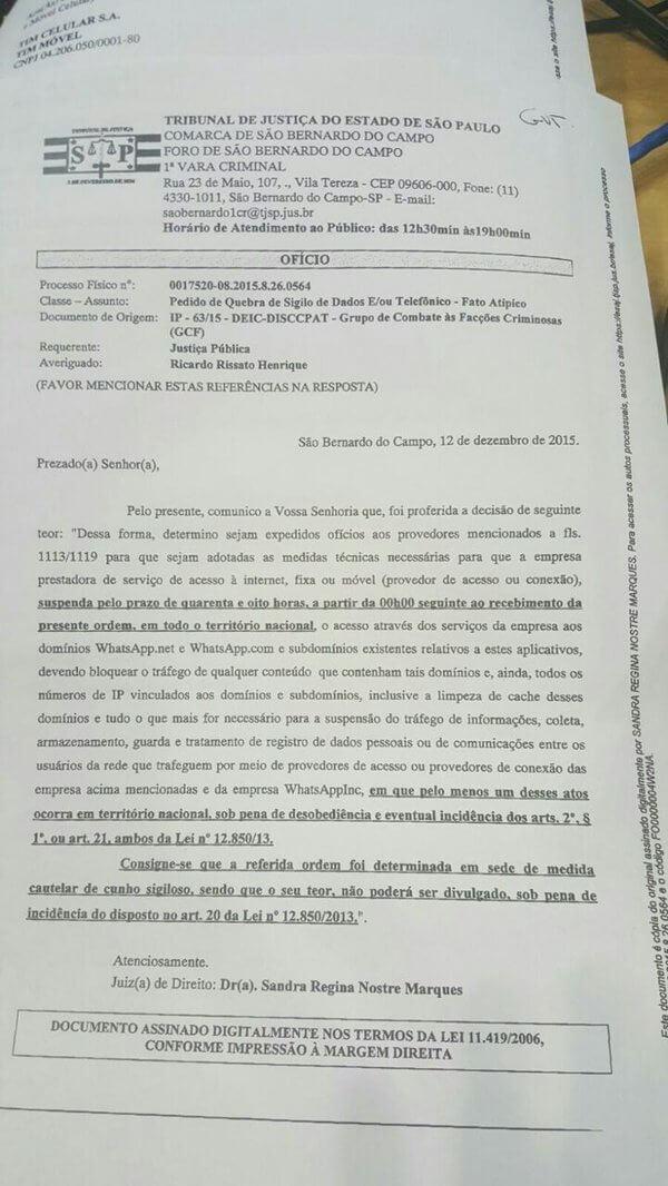Ofício que determinou o bloqueio do WhatsApp no Brasil.
